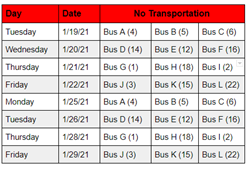 Bus Route Reduction Schedule
