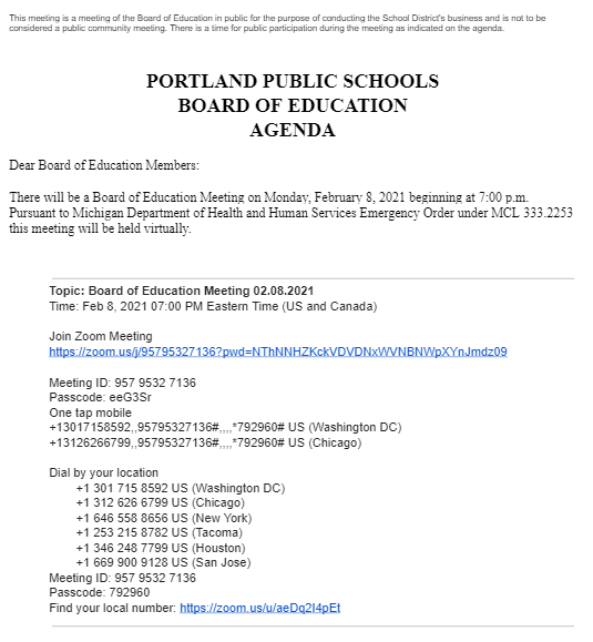 Portland Public School Board Meeting 2/8/21